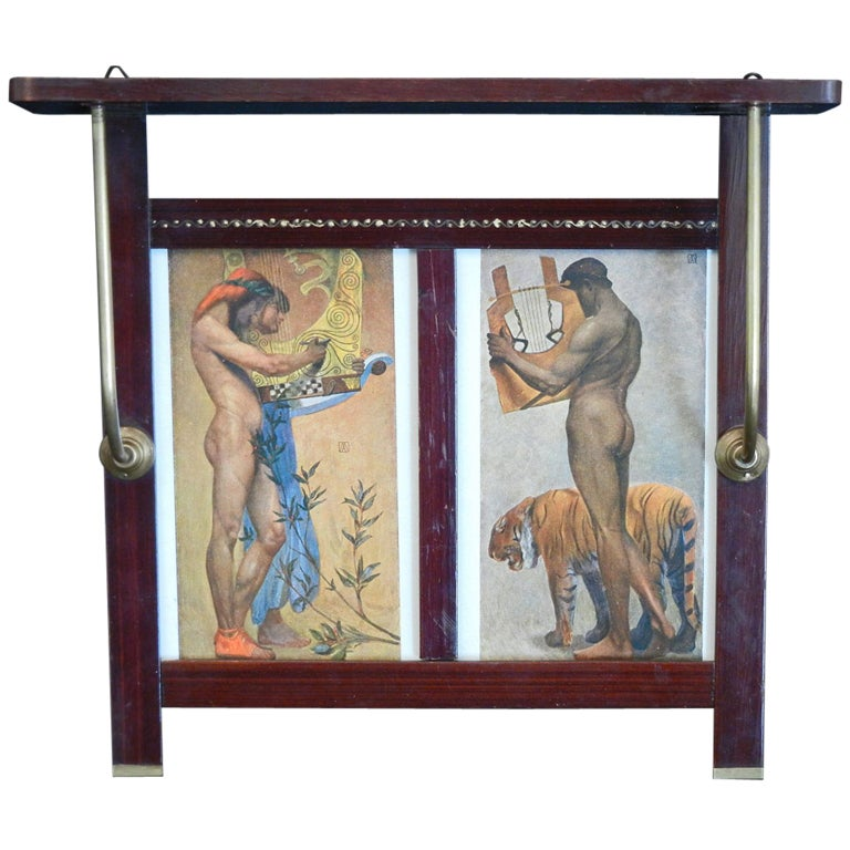 """Nudes with Lyres,"" Rare, Limited Edition Wall Shelf with Symbolist Prints For Sale"