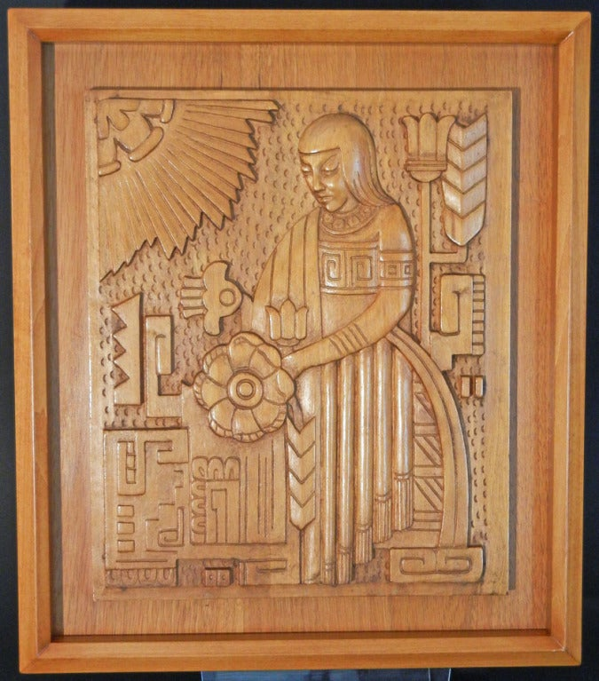 Rare Pair of Carved Aztec Art Deco Panels, Golden Mahogany 5