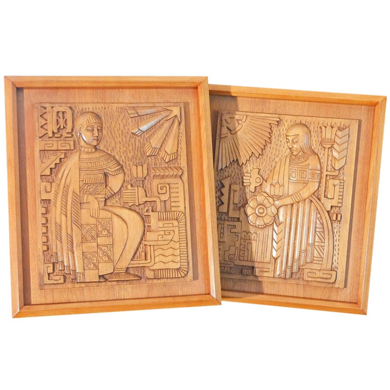 Rare Pair of Carved Aztec Art Deco Panels, Golden Mahogany