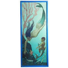 """Mermaid,"" Art Deco Mural Masterpiece by Paul Julian, WPA Artist"