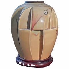 Rare Art Deco or Cubist Lamp with Sailing Ship Finial