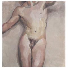 """""""Nude Male Torso,"""" Important Painting by Dunbar Beck, 1930s"""