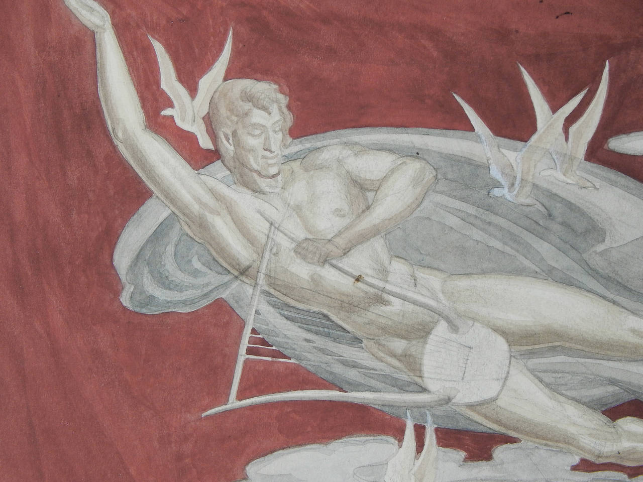 Painted by Dunbar Beck, one of America's finest muralists in the 1930s and 1940s, this classic example of Art Deco stylized allegorical painting served as a study for a series of murals that Beck painted for the 1939-1940 New York World's Fair. Beck