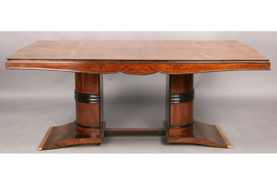 Elegant Art Deco Dining Table With Exotic Inlay, In The