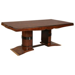 Elegant Art Deco Dining Table with Exotic Inlay, in the style of Leleu