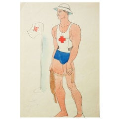 """Lifeguard, Copacabana,"" 1942 Watercolor Painting by Eskridge"