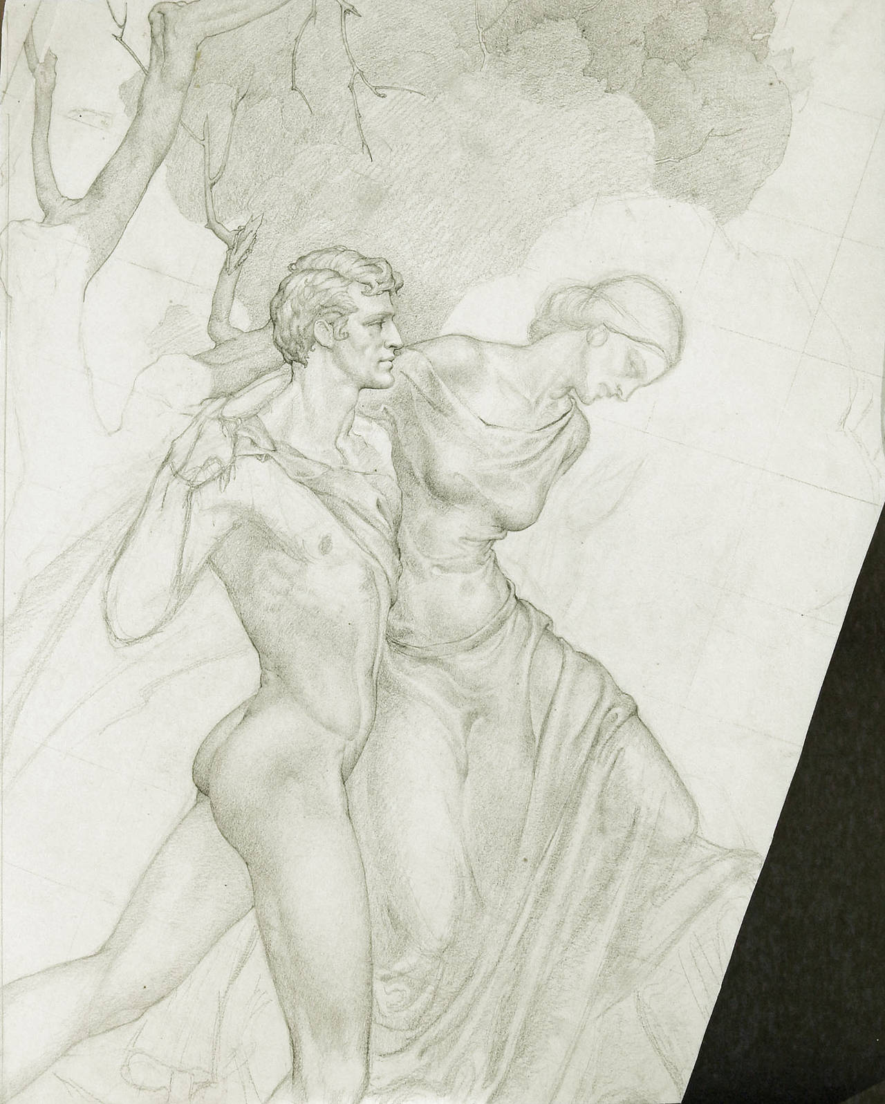 Always a master draftsman, this lovely drawing by Dunbar Beck demonstrates his mastery of the human figure, with antecedents in Renaissance and Pre-Raphaelite paintings. The drapery of the female figure, in particular, is strongly reminiscent of
