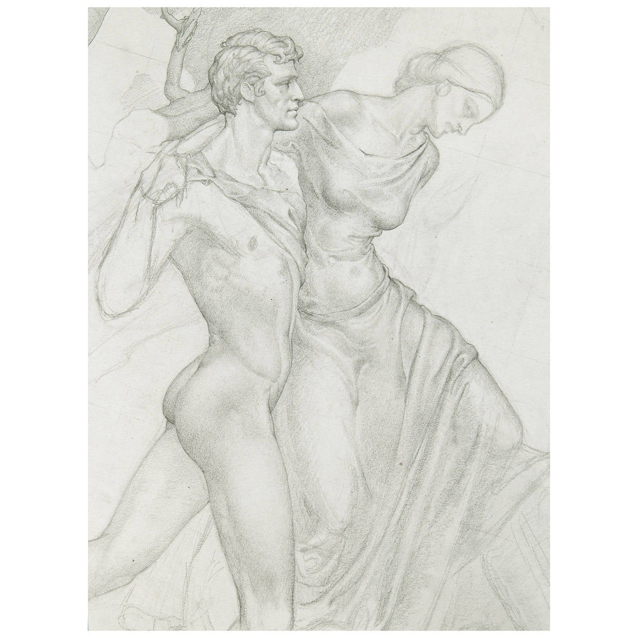 """""""Nude Male and Draped Female,"""" Study for Painting by Dunbar Beck For Sale"""
