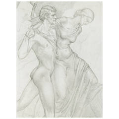 """Nude Male and Draped Female,"" Study for Painting by Dunbar Beck"