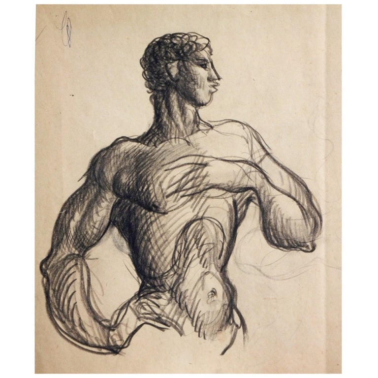 """""""Nude Male with Hand to Chest,"""" Drawing by Raoul du Bois For Sale"""