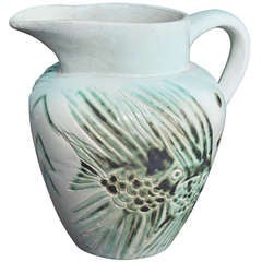 Rare Art Deco Pitcher with Fish Motif by North Dakota School of Mines