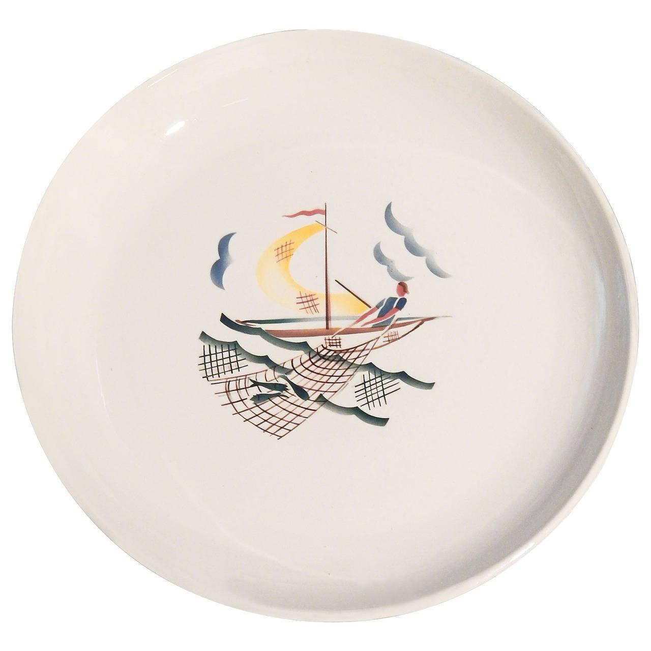 """Bringing in the Haul,"" Rare Art Deco Bowl by Andlovitz for Societa Ceramica"