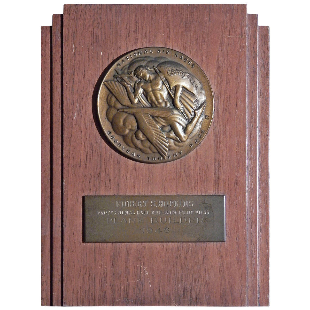 Goodyear Trophy Race Plaque, National Air Races, 1948, with Chambellan Medal