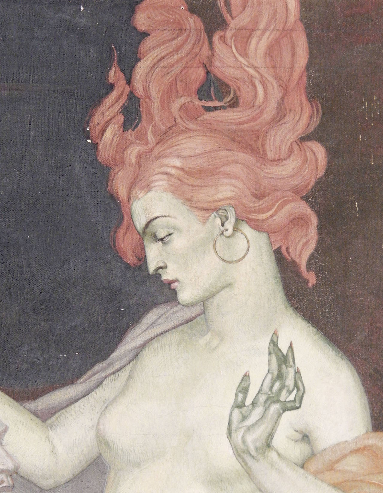 Depicting a Salome who is both ravishing and terrifying, with her auburn tresses rising up as if on fire, this remarkable work was painted by Dunbar Beck, famed for his WPA and New York World's Fair murals. Here Beck captures the female nude in all