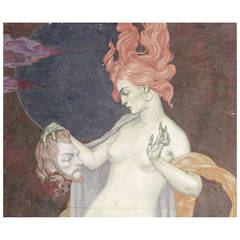"""Salome,"" Important Art Deco Painting by Dunbar Beck, WPA Muralist"