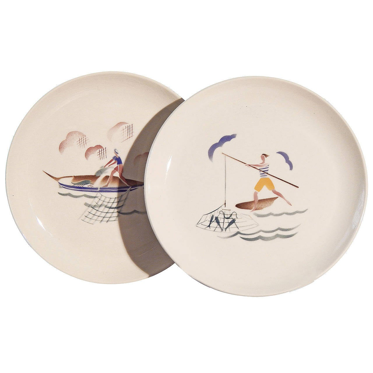 """Bringing in the Catch,"" Set of Three Rare Art Deco Plates by Andlovitz For Sale"