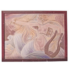 """Nude with Lyre,"" Important Art Deco Painted Ceramic Panel, 1935"