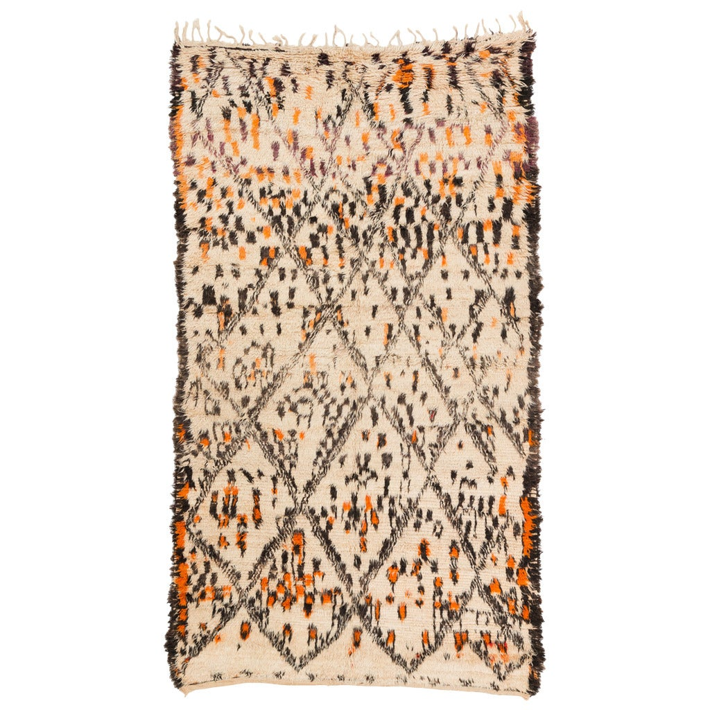 A Vintage Primitive Beni Ourain Rug With Animal Pelt Design 6X10.8