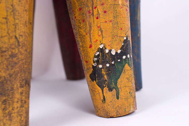Antique Hand Painted African Nupe Stool At 1stdibs