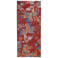 Antique Tibetan Dragon and Phoenix Carpet