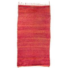 Vintage Red Abrash Moroccan Berber Rug