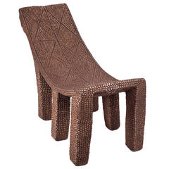Brass and Iron Embellished Chair from the Congo