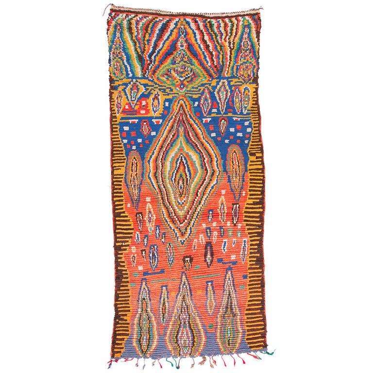 Abstract Berber Moroccan Rug, circa 1980s