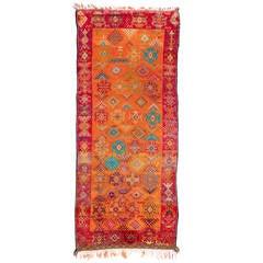 20th Century Handmade Vintage Moroccan Orange and Scarlett Red Berber Rug