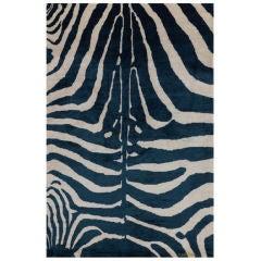 Indigo Blue Silk Zebra Area Rug