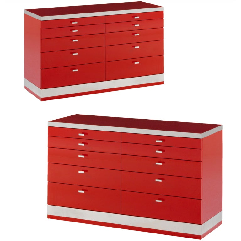 A Pair of Red Lacquer and Steel Commodes by Willy Rizzo