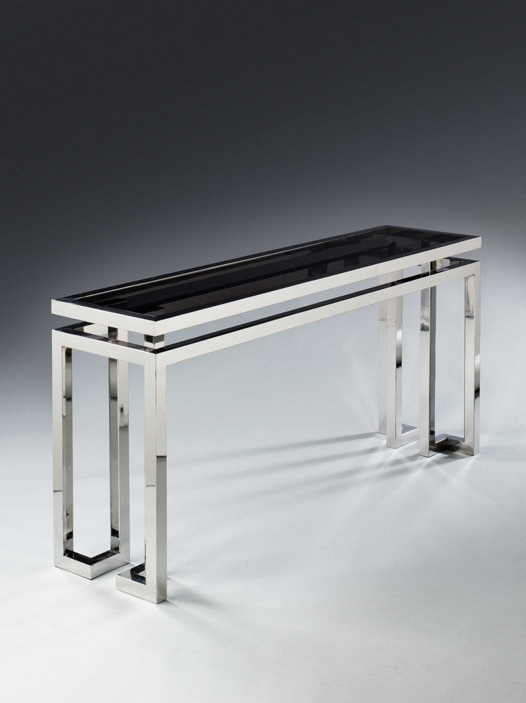 A 20th Century Chrome And Glass Console Table At 1stdibs