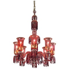 A Red, White and Gilt Glass Overlay Chandelier by F & C Osler