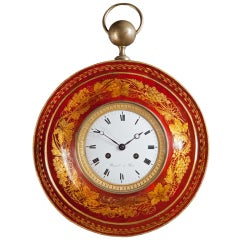 A Charles X Red Tole Cartel Clock