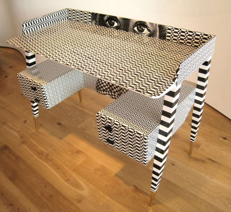 Contemporary 'Optique' Desk by Piero and Barnaba Fornasetti, 2009 For Sale