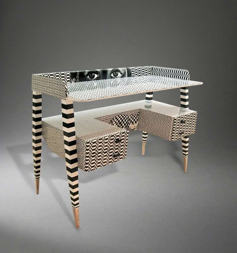 Italian 'Optique' Desk by Piero and Barnaba Fornasetti, 2009 For Sale