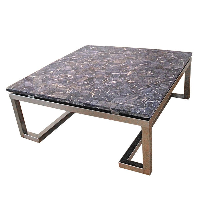 Square Steel Coffee Table Italian C 1970: 1970's Coffee Table For Sale At 1stdibs