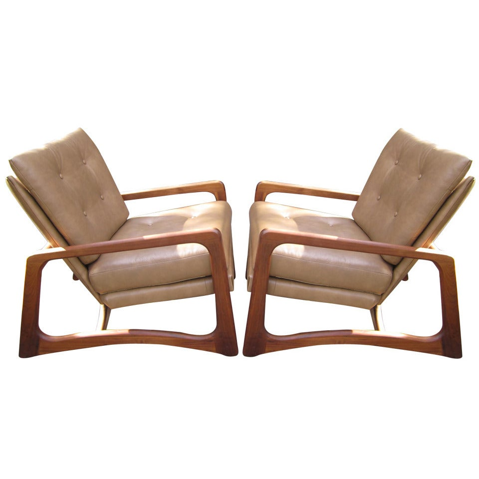 Pair of adrian pearsall leather and walnut lounge chairs for Mid century modern leather chairs
