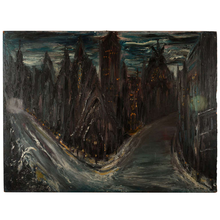 Designart New York City Skyline Panorama 5 Piece Wall: Gothic Cityscape Painting For Sale At 1stdibs