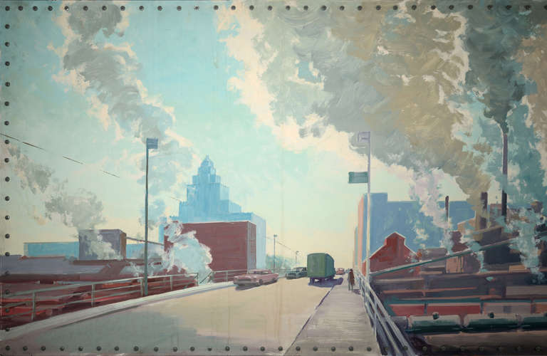 Illinois Industry Panoramic Painting At 1stdibs