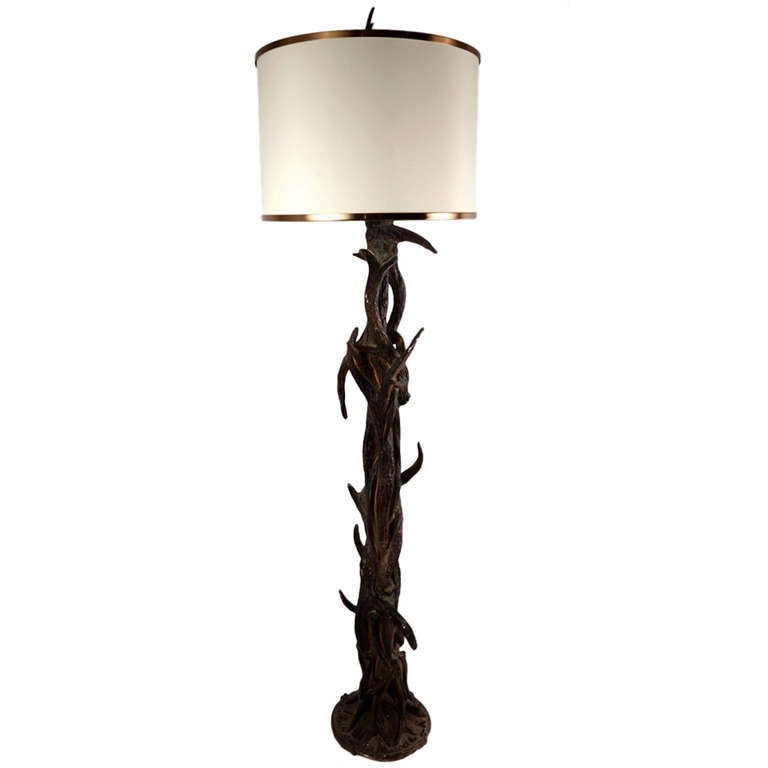 Rustic Stag Prong Floor Lamp At 1stdibs
