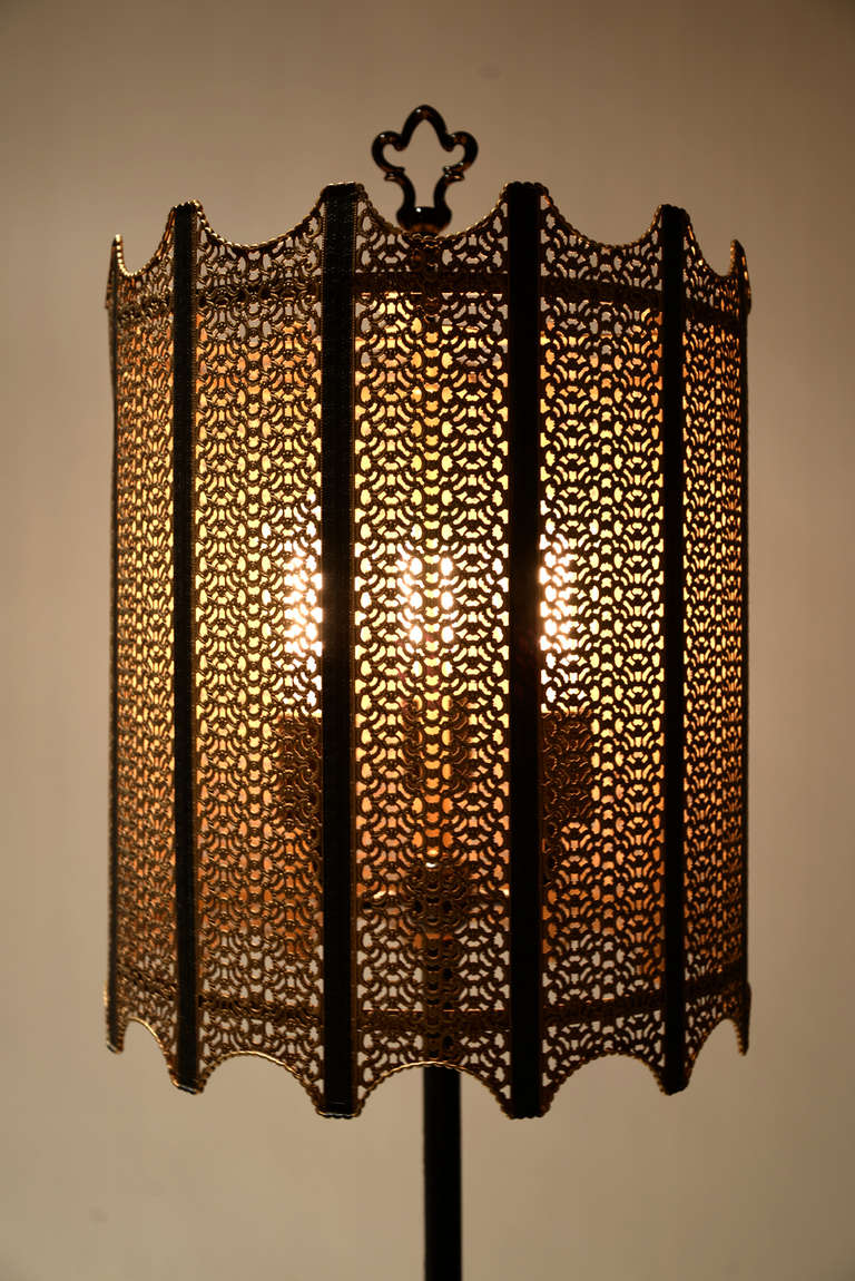 Pair Custom Hollywood Regency Style Wrought Iron And Mesh