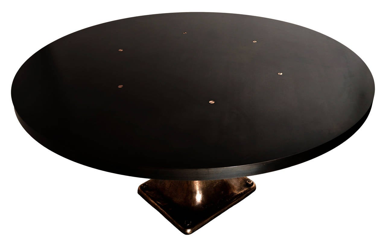 Cast Bronze Pedestal Steel Top Dining Table 4