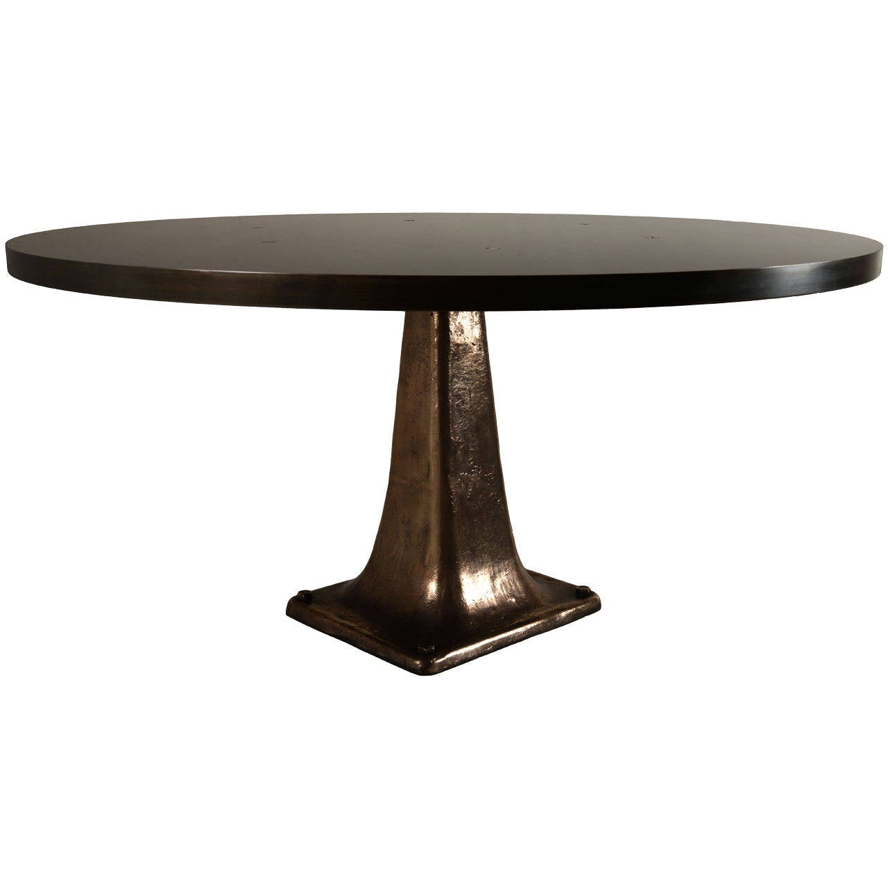 Cast Bronze Pedestal Steel Top Dining Table 2
