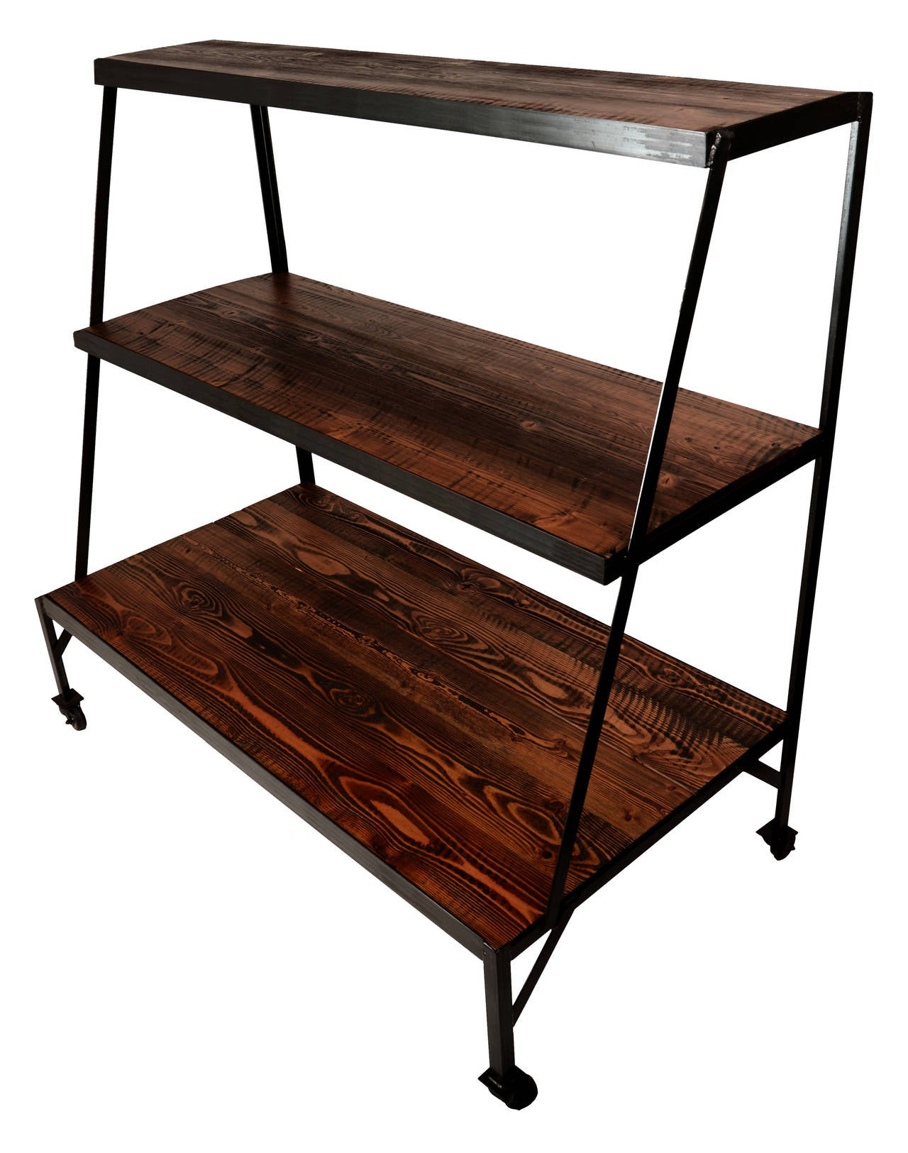 Basket Merchandiser with Wood Shelves In Excellent Condition For Sale In Seattle, WA