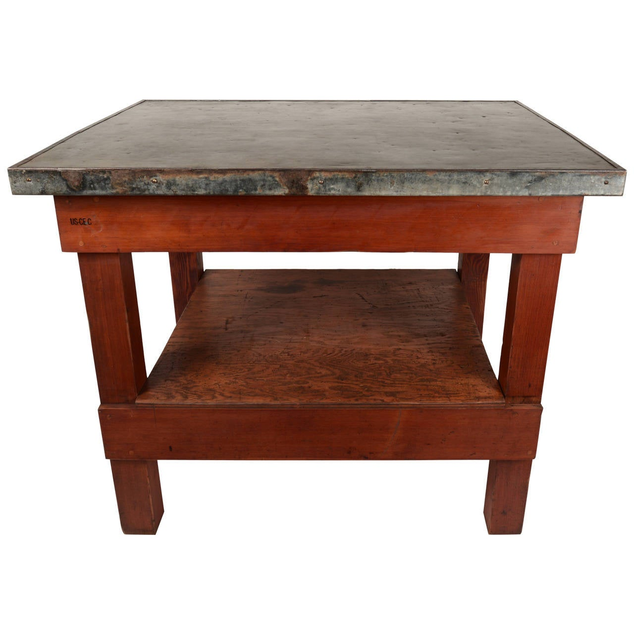 Army corps cement testing table at 1stdibs for Furniture work table