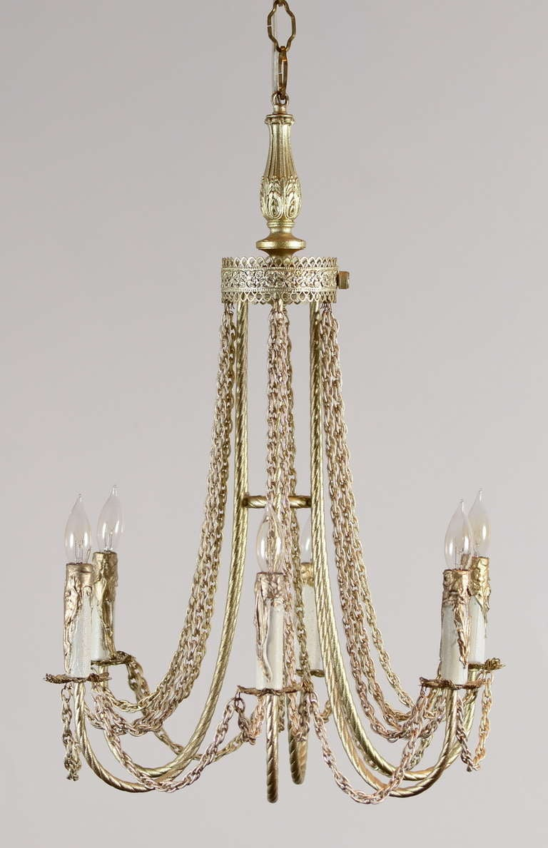 Six Light Chandelier with Rope Twist Arms and Chain Swag