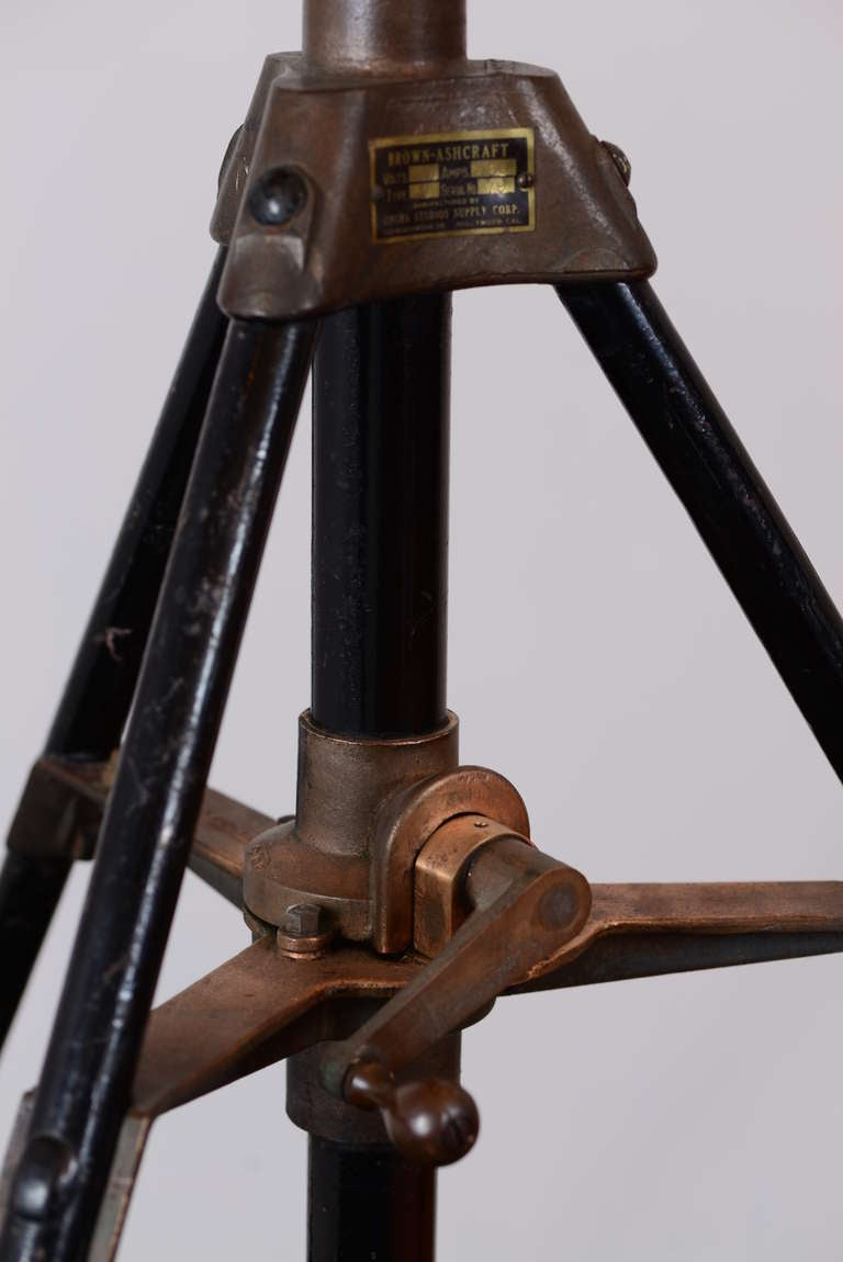 Industrial Spotlight On Giant Tripod With Casters At 1stdibs