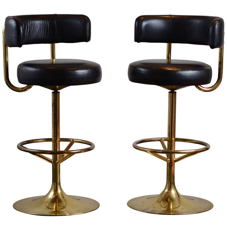 Pair Of Vintage Swivel Brass Bar Stools At 1stdibs