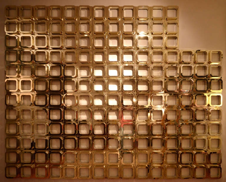 Gold Molded Resin Geometric Wall Installation 3