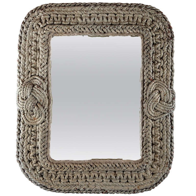 Vintage Mirror With Nautical Rope Frame At 1stdibs